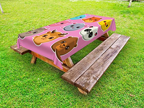 Lunarable Kawaii Outdoor Tablecloth, Zoo Animals Pattern Panda Mouse Pig Fox Cat Deer and Bear Colorful Cartoon Design, Decorative Washable Picnic Table Cloth, 58 X 84 inches, Multicolor by Lunarable
