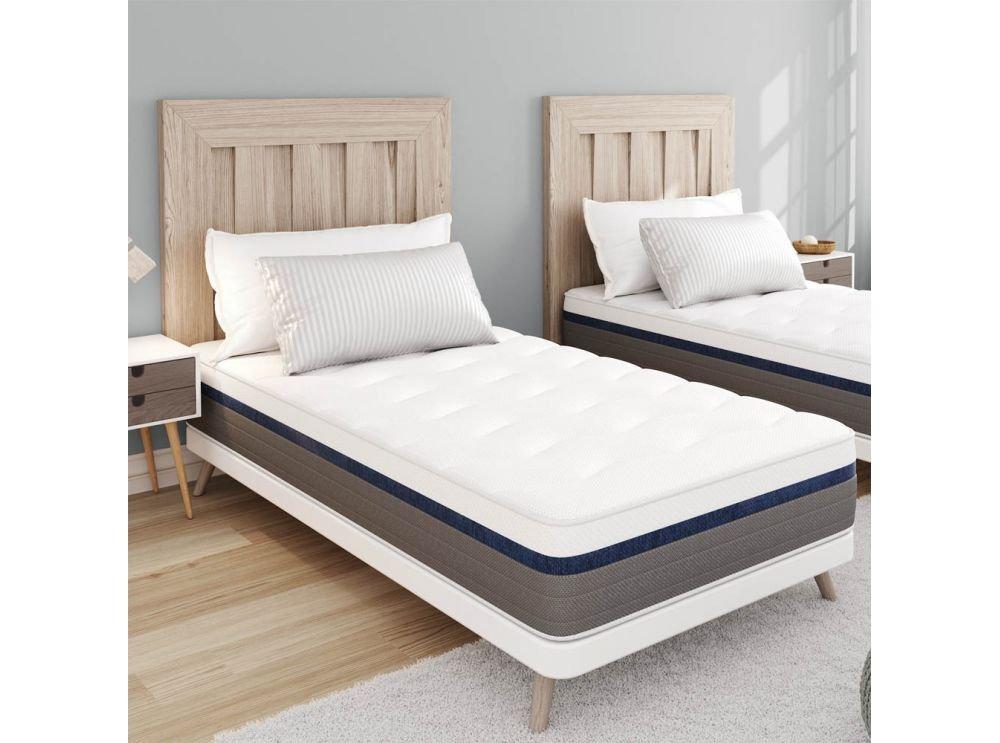 Matelas Memory Zen 90x190cm Mémoire de forme MEMORYTEX® 42kg-m3 - MEMO-LATEX® 60kg-m3 - 2 faces + 7 zones de confort – 25 cm -