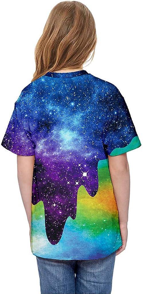 TIANRUN Girls Boys Short Sleeve T-Shirt Tee Summer Clothes 7-13 Years Old Teen Youth 3D Print Cartoon Tops