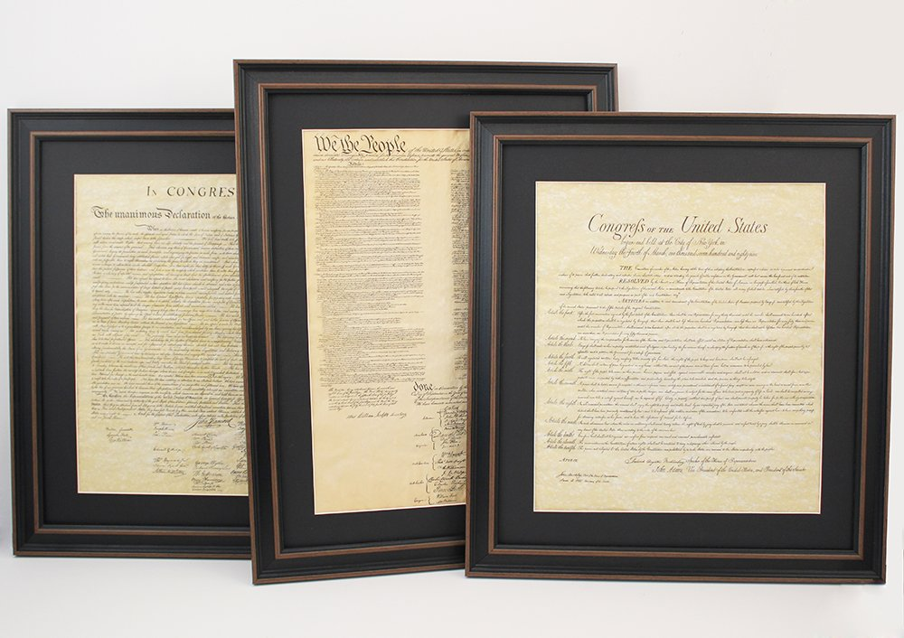 Constitution, Bill of Rights, and Declaration of Independence; Framed Set of 3 with Black Matte