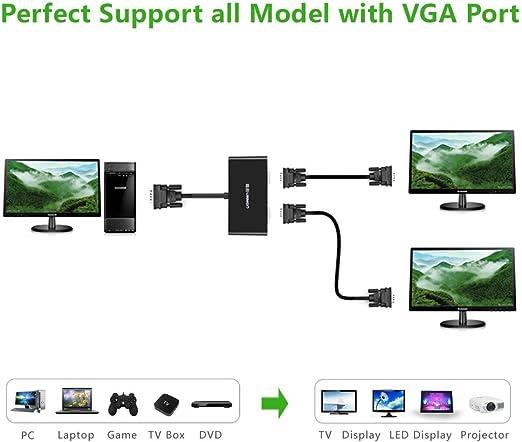 UGREEN?Adaptador VGA a Dos VGA para conectar Dos monitores con 1920 X 1440 @ 60HZ Macho a Hembra: Amazon.es: Electrónica