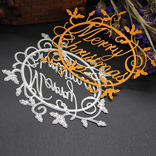 Voberry Paper Craft Cutting Dies Stencil Metal Mold for DIY Scrapbook Album Paper Card Merry Christmas Decoration (I, Sliver)