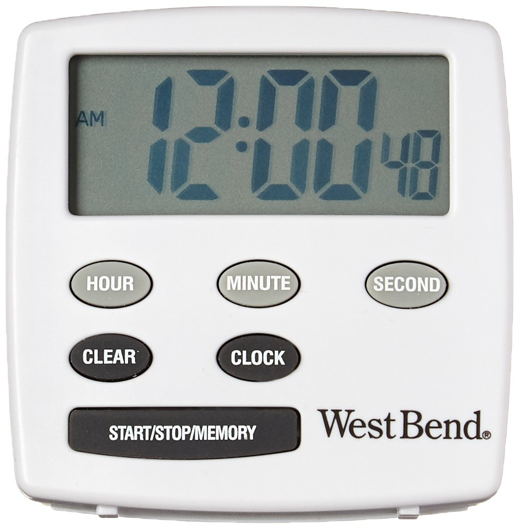 West Bend 40055 Easy to Read Digital Magnetic Kitchen Timer Features Large Display and Electronic Alarm, White