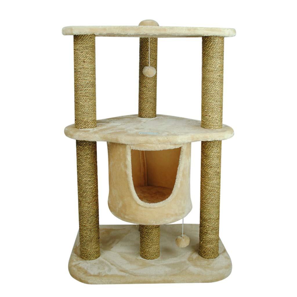 猫木ペット猫ウィンドウサイザル子猫ジャンピングベッドハウス猫スクラッチハンギングボール (Color : 褐色) 褐色