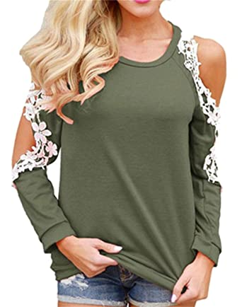 10e29b0027 Gnao Women Sexy Lace Splicing Long Sleeve Cold Shoulder Top T-Shirt Blouse  Army Green