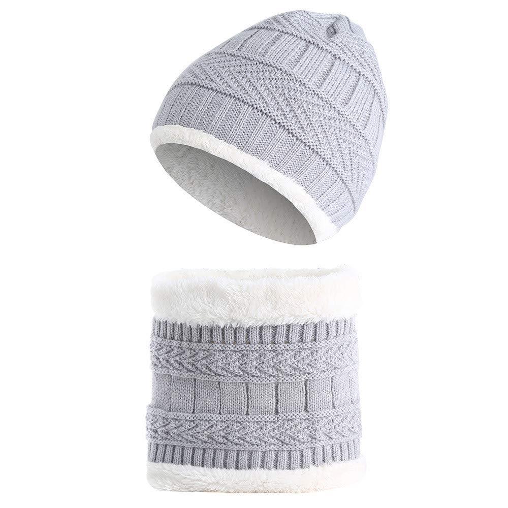 BZLine Casquettes au Crochet pour Enfants + Ensemble Écharpe, Bonnet de Fourrure Tour de Cou tricoté Chaud- 1 à 8 Ans (Beige) BZL-01