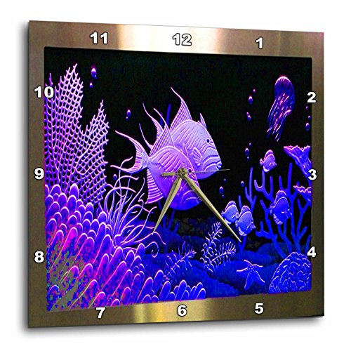 (3dRose dpp_128916_3 Neon Purple Fish in a Aquarium Metal Frame with Coral and Ocean Life Wall Clock, 15 by 15-Inch)