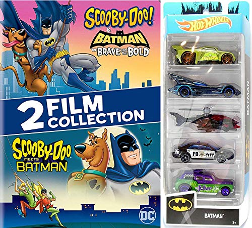 Bat Hero Saves The Day! Batman & Scooby-Doo! Cartoon Brave and the Bold caped crusader & Mystery gang + Hot Wheels 5-Pack Batmobile Heroes & Villains cars (Superman Batman The Brave And The Bold)
