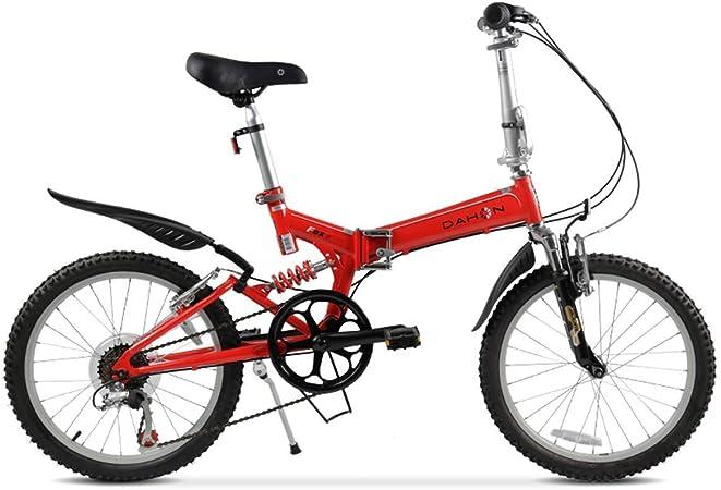 KOSGK Bicicleta MontañA Bicicletas Unisex Cuadro Acero 20 con Guardabarros Delantero Y Trasero Freno Disco MecáNico Delantero Y Trasero, Rojo, 20: Amazon.es: Hogar
