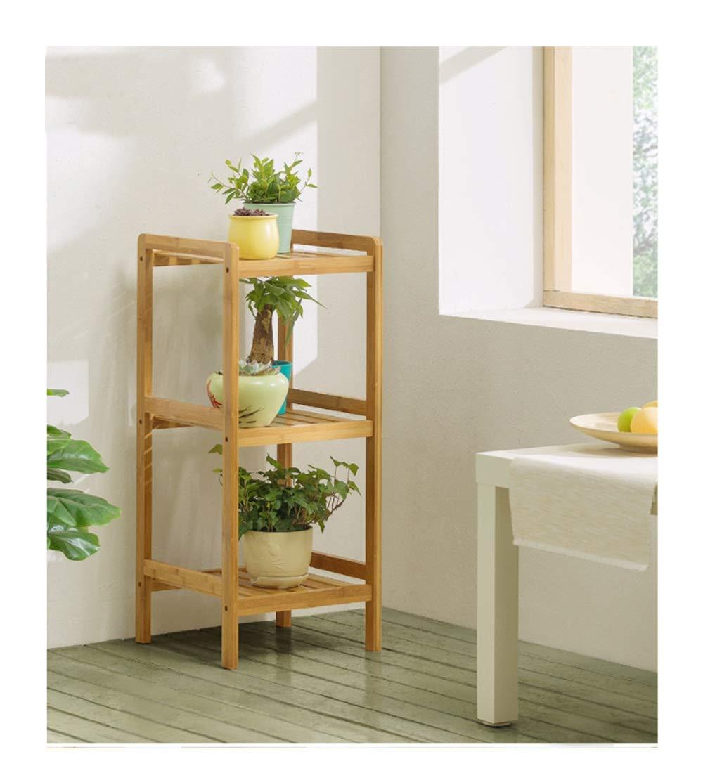 HU Flower Frame Pavimento in Legno massello Indoor multipiano Balcone Living Room Fleshy Flower Pot Rack Scaffale per Fiori verde (colore   colore del Legno, Dimensioni   S.)
