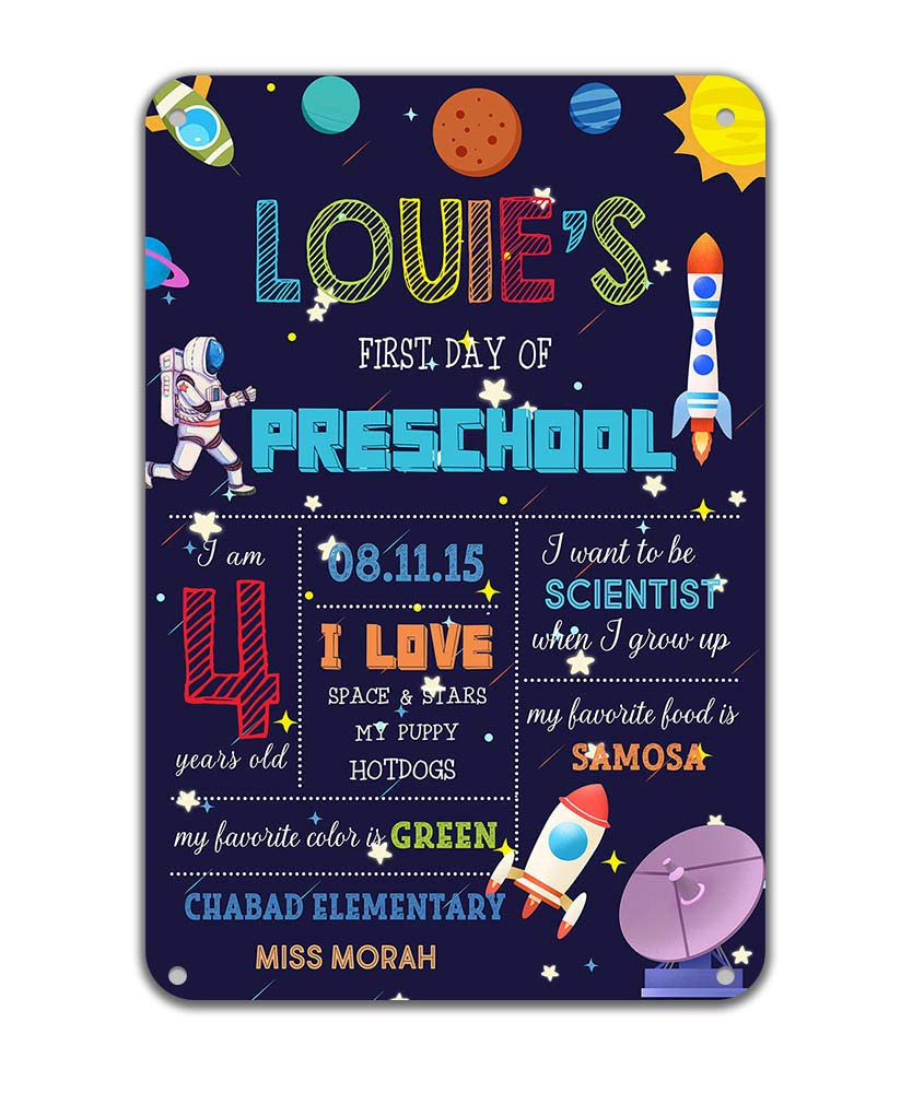 Reusable Space Rocket First Day Chalkboard Children Party Photo Props Back to School Astronaut Metal Tin Signs Kindergarten Easy Clean 8x12 inches Customizable with Liquid Chalk Markers(not included) by Fanghui