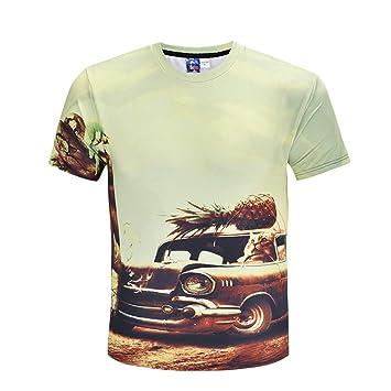 LUOEM Camiseta de Manga Corta de Verano de impresión en 3D para Hombres (tamaño M
