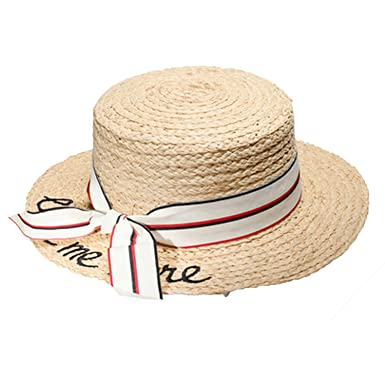 99eb66a6e40 Women Summer Straw Hats Letter Love Me More Embroidery Flat Sun Hats Ladies  Raffia Bow-Knot Beach Caps White at Amazon Women s Clothing store