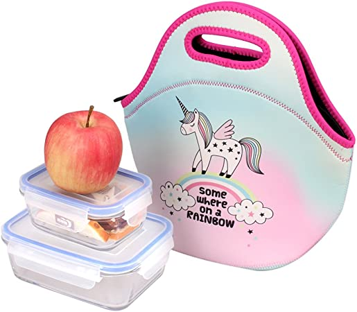 Sanne – Bolsa isotérmica con aislamiento de unicornio niños caja de almuerzo para comida preparar Pack para Hombres Mujeres Niña resistente al agua resistente con asa: Amazon.es: Hogar