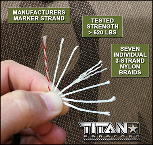 "TITAN MIL SPEC 550 Paracord / Parachute Cord, 103 Continuous Feet, 620 lb. Breaking Strength Authentic MIL C 5040, Type III, 7 Strand, 5/32"" (4mm) Diameter, 100% Nylon Military Survival Cordage. Includes 3 FREE Paracord Project eBooks."