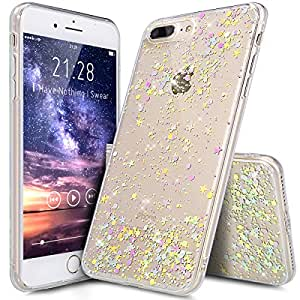 """iPhone 7 Plus Case,iPhone 7 Plus Glitter Case,ikasus Luxury Sparkle Star Bling Diamond Glitter Paillette Flexible Soft Rubber Gel TPU Protective Bumper Silicone Case for iPhone 7 Plus 5.5"""",Clear B"""