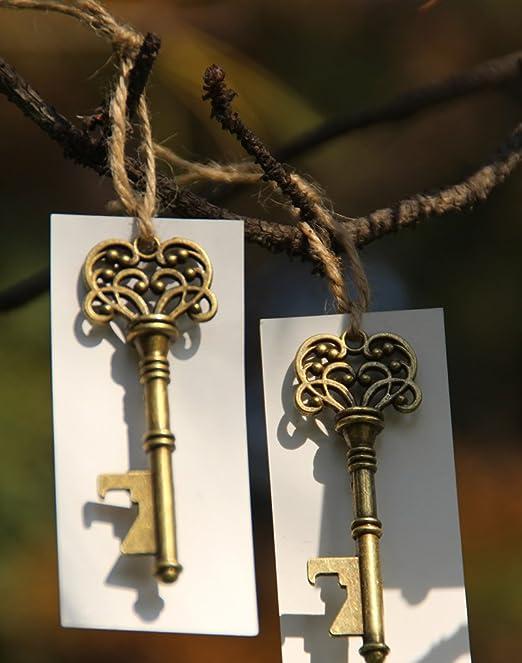 50pcs Wedding Favors Silver Skeleton Key Bottle Opener with brown Escort Tag Card by DLWedding