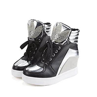 60a23ca17b9 GIY Women s High Top Fashion Sneakers Lace Up Wedges Platform Round Toe  Hidden Heel Casual Sneaker