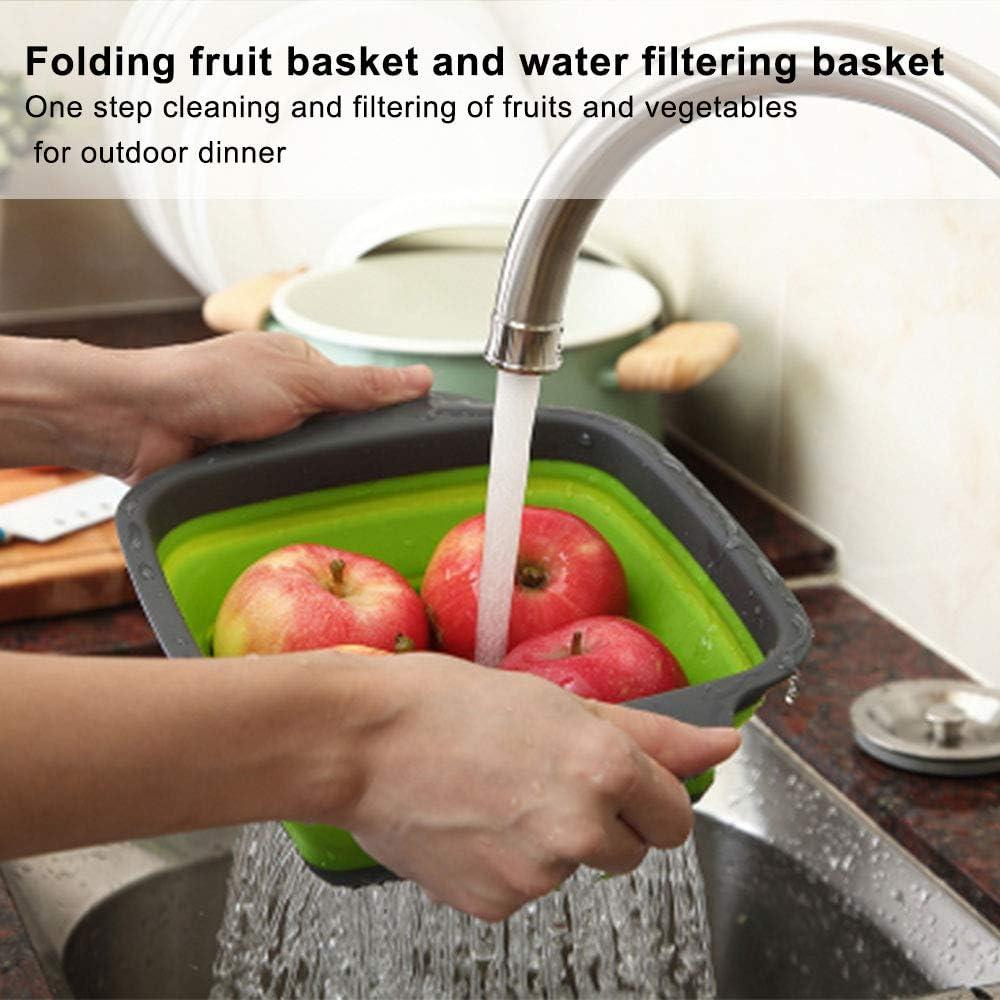 Colador plegable colador de alimentos cesta de 4 colores azul colador de silicona para frutas y verduras 2 tama/ños de cocina cuadrado