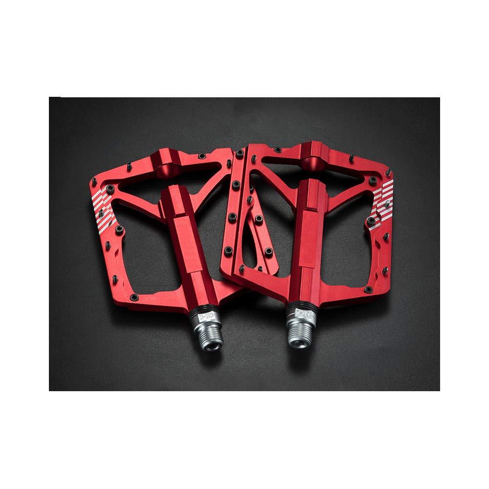自転車ペダル、マウンテンバイクのペダル、アルミペダルペダルペイリンはマウンテンバイク道路運送車両折りたたみ用など適切な非スリップペダル乗馬アクセサリーベアリング 赤