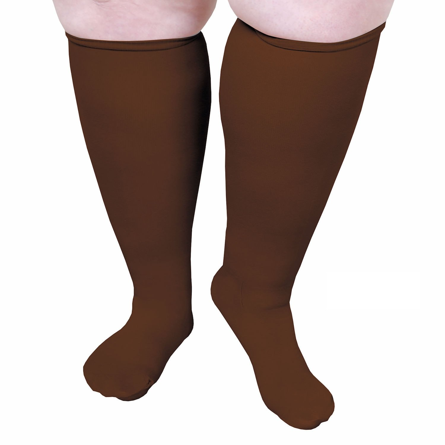 Unisex Extra Wide Moderate Compression Knee High Socks Petite Height Under 5'6'' - Brown