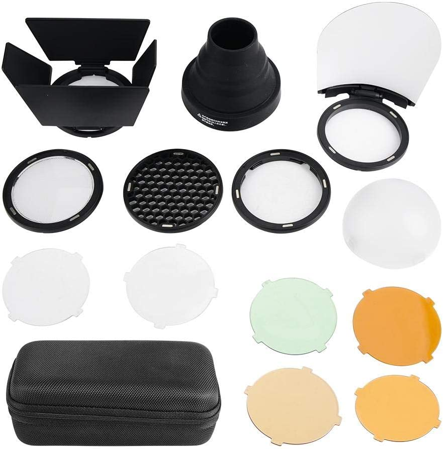 V BESTLIFE Color Filter Light Snoot Honeycomb Reflector Diffuse Godox Portable Honeycomb Snoot with Magnetic Attachments,Semicircular Soft Cover for Godox AD200//H200R