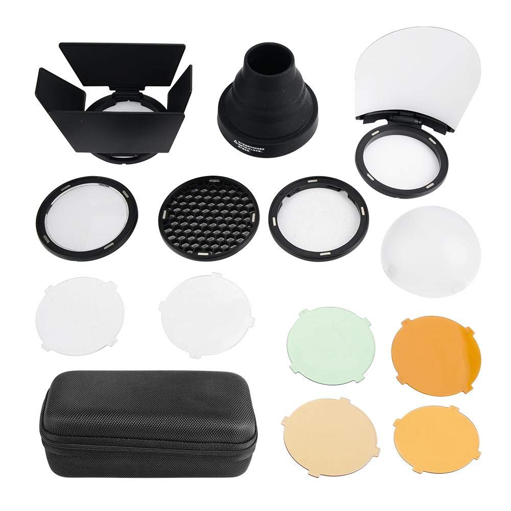 Serounder Camera Flash Snoot Kit with Honeycomb Grid, 5-Color Filter, Diffuser and Four-Wing Reflector Light Beam Tube for Strobe Monolight Photography Flash Light
