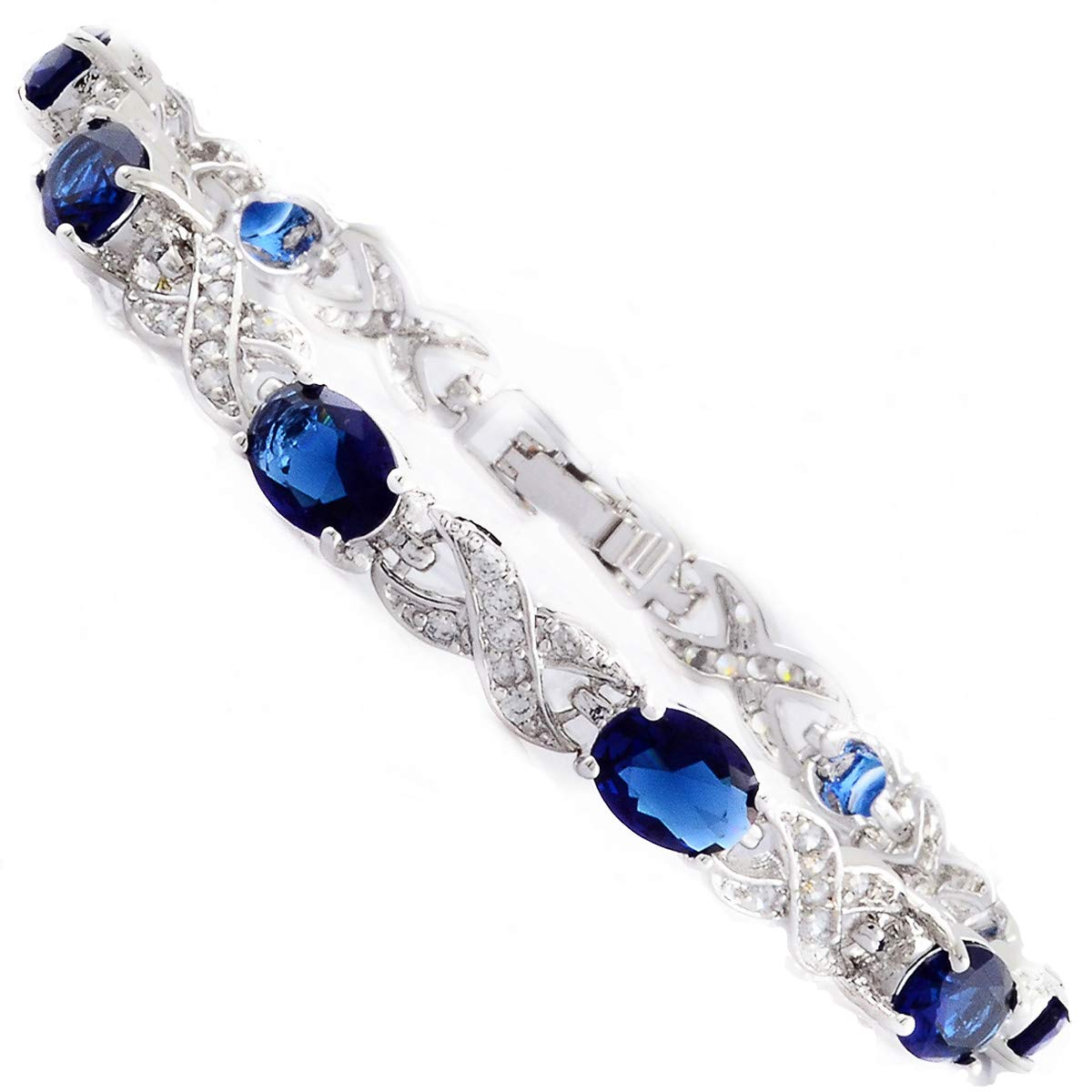 RIZILIA Tennis Bracelet & Oval Cut CZ [Simulated Blue Sapphire] in White Gold Plated, 7 7 LB1274BLU