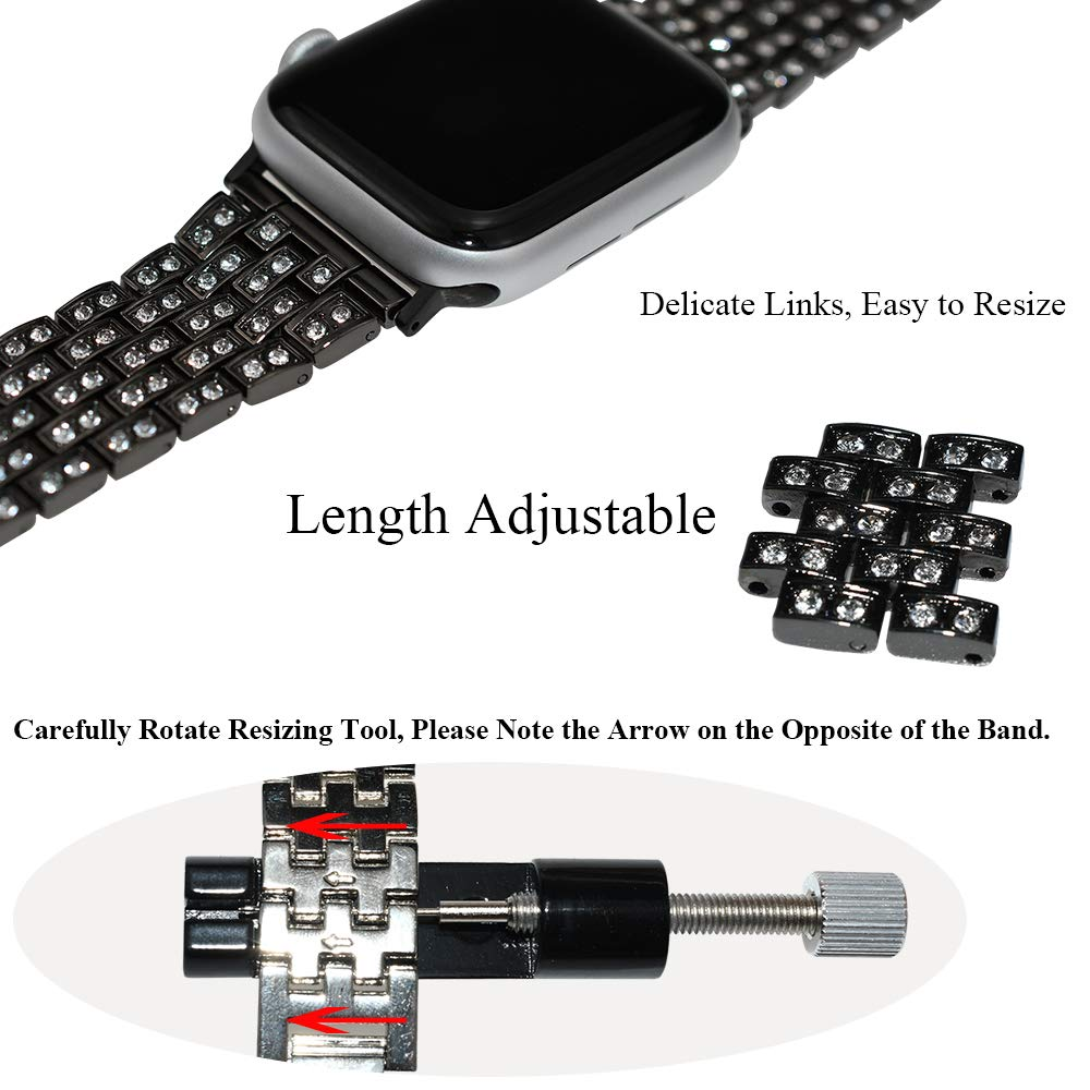 YUNSHU Rhinestone Diamond Apple Watch Band Replacement for Apple Watch Series 5/4/3/2/1 38mm 40mm 42mm 44mm iWatch Bling Metal Jewelry Dressy ...