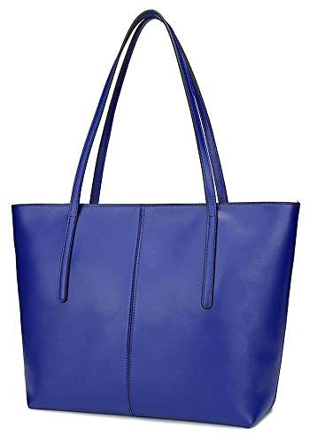 809c590176bb ilishop Women s Large Leather Shoulder Bag Work Tote with Zippers (Blue)