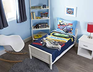 Hot Wheels Epic 4 Piece Toddler Bedding Set - Includes Quilted Comforter, Fitted Sheet, Top Sheet, and Pillow Case, Blue (HWM009)