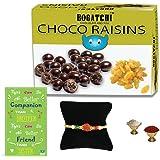 BOGATCHI Rakhi Sweet Chocolate Gift Pack for Brother, Chocolate Coated Raisins, 100g + Free Rakhi Greeting Card + Free Rakhi + Roli Chawal