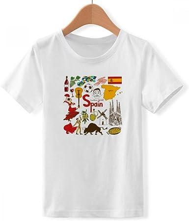 DIYthinker España Paisaje Animales Bandera Nacional de Cuello Redondo Camiseta para Chico: Amazon.es: Ropa y accesorios
