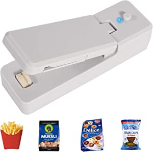 Portable Bag Sealer Machine, 2 in 1 Mini Food Heat Sealer, Handheld Sealer and Cutter for Food Plastic Bags Storage, Keep Snack Fresh