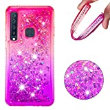 Amocase Funny Liquid Case with 2 in 1 Stylus for Samsung Galaxy A9 2018,Cute 3D Glitter Diamond Shockproof Quicksand Crystal Silicone Clear Cover for Samsung Galaxy A9 2018 - Pink Purple