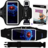 """Cell Phone Armband + Running Belt for iPhone 8 Plus 7 Plus 6s/6 Plus, Galaxy s8 s7 s6 Edge, Waist Pack Workout Wristband Sport Arm Band Strap Key Holder for Hiking Jogging, Set of 3,Up to 6.2"""" Black"""