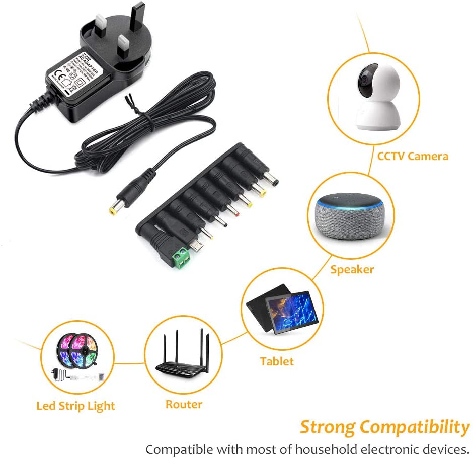 Zolt 10W Universal AC to DC Power Adapter Charger 5V 2A Power Supply Transformer Adaptor with 8 DC Connectors for USB HUB Tablet Phone Raspberry Pi CCTV Camera and More 5V Devices