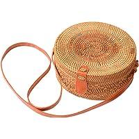 Handwoven Round Rattan Bag Shoulder Leather Straps Natural Chic Circle Handbag