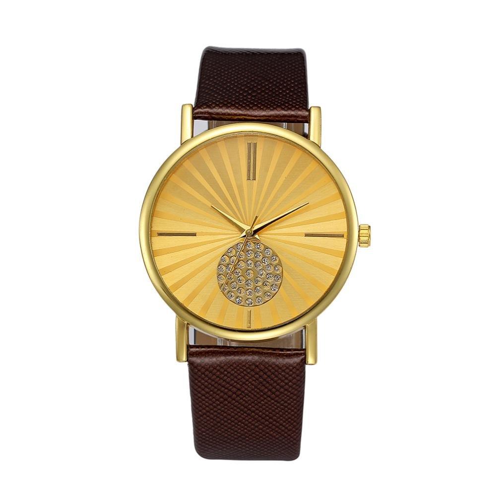 LtrottedJ Women Retro Digital,Dial Leather Band Quartz Analog Wrist Watch Watches (Brown)