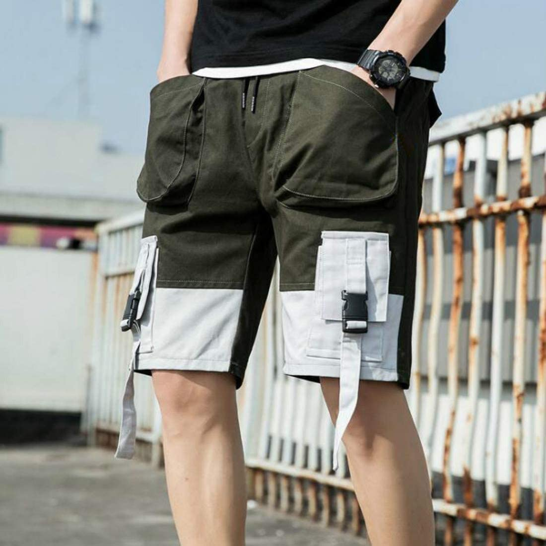 ZPAYFSDS Mens Lightweight Multi Pocket Casual Cargo Shorts Streetwear Shorts Army Green S-L
