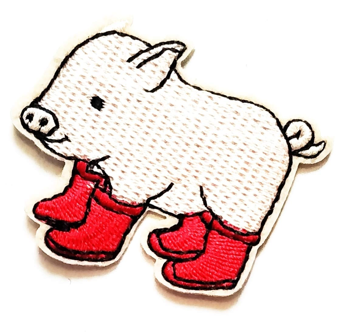 2.4'' X 2'' Cute Pretty Pig Wearing red Boots ccartoon Kids Logo Jacket t-Shirt Jeans Polo Patch Iron on Embroidered Logo Sign Badge Comics Cartoon Patch by Tour les jours Shop