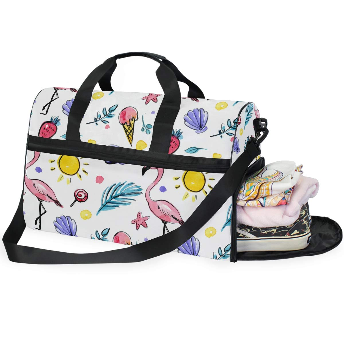 Vacation Travel Duffel Bag Flamingos Waterproof Lightweight Luggage bag for Sports Gym