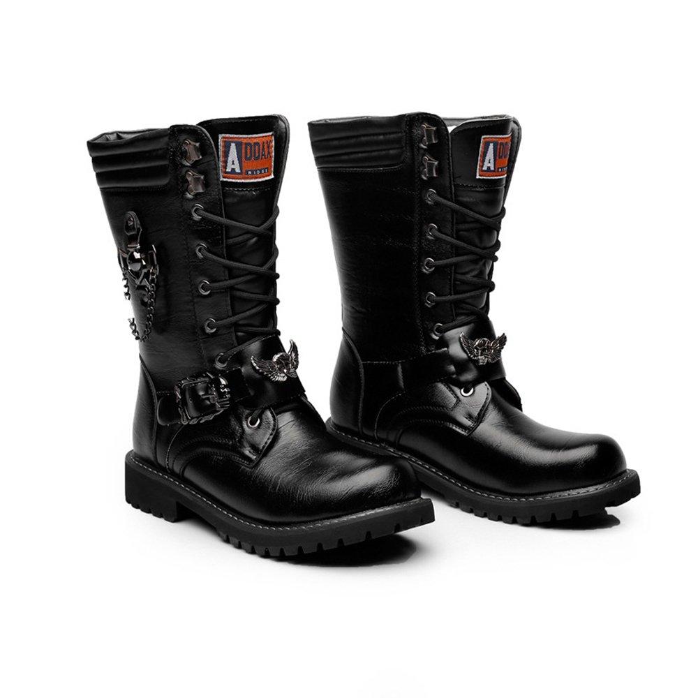 YAJIE-Stiefel, Herren Winterstiefel Lace Up Kette Dekoration Leder Upper Upper Upper Mid Calf Combat Schuhe (Farbe   Schwarz, Größe   39 EU) 34081f