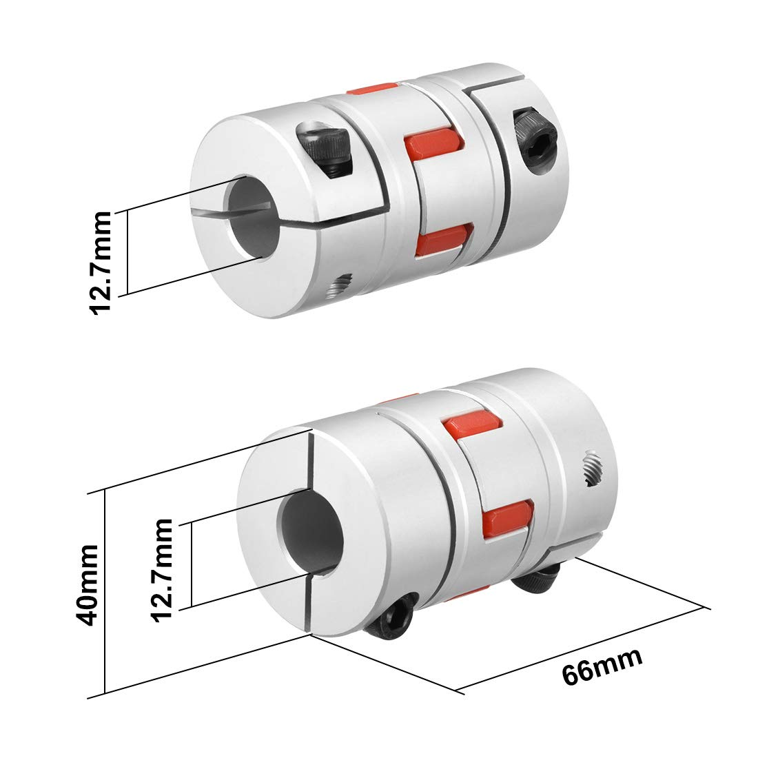 sourcing map Shaft Coupling 14mm to 14mm Bore L65xD45 Flexible Coupler Joint for Servo Stepped Motor