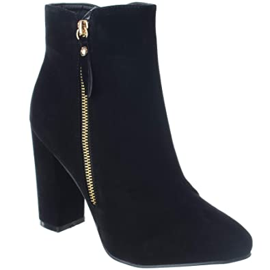 f875728aa6c9 Miss Image UK Ladies Womens MID HIGH Chunky Block Heel Zip UP Faux Suede  Chelsea Ankle Boots Shoe Size 3-8  Amazon.co.uk  Shoes   Bags