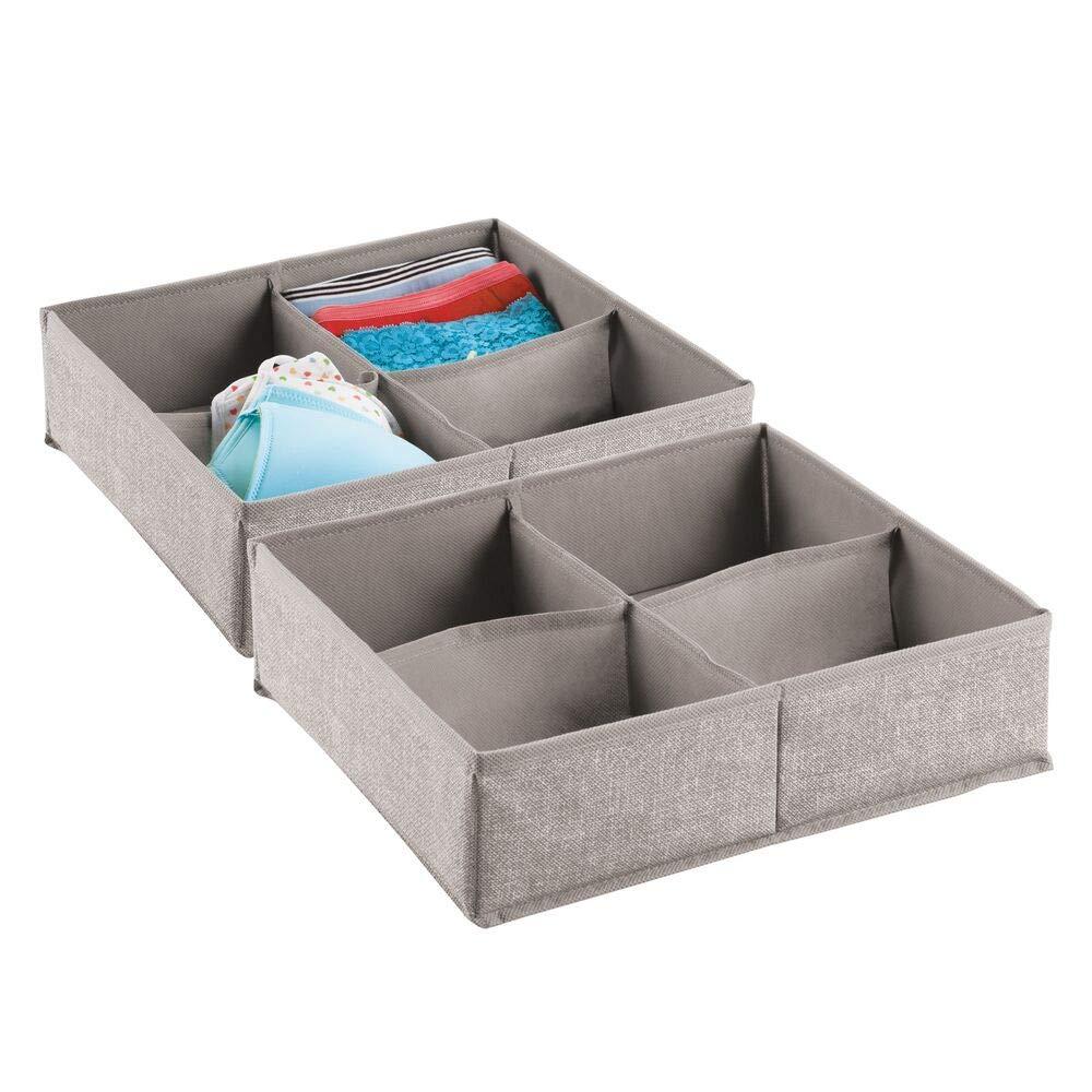 Vers/átiles organizadores de tela mDesign Juego de 2 organizadores de armarios y cajones con 4 compartimentos Las cajas de almacenaje perfectas para ropa interior y otros accesorios Gris
