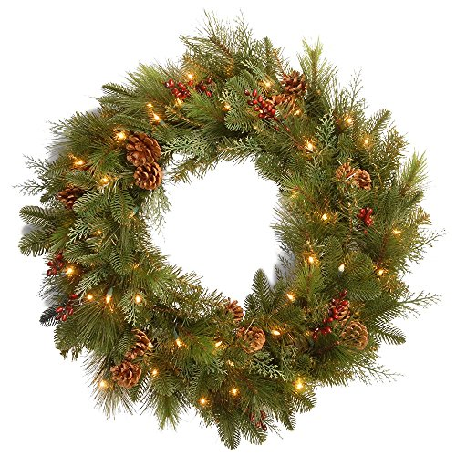 Pre-Lit Decorative Noble Mixed Artificial Christmas Wreath - 30-Inch, LED Lights Battery Operated