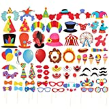 Blue Panda 72-Pack Circus Photo booth Props - Carnival Circus Party Backdrop Decorations, Selfie Props, Photo Booth Accessories, Party Supplies, Assorted Colors