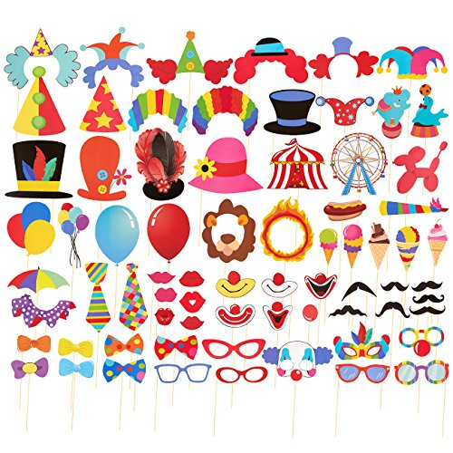 Blue Panda 72-Pack Circus Photo Booth Props - Carnival Circus Party Backdrop Decorations, Selfie Props, Photo Booth Accessories, Party Supplies, Assorted Colors ()