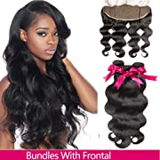 Brazilian Body Wave 3 Bundles With Frontal (10/12/14+10,Natural Colour)Virgin Human Hair Weave And Ear To Ear Lace Frontal Closure With Baby Hair Free Part